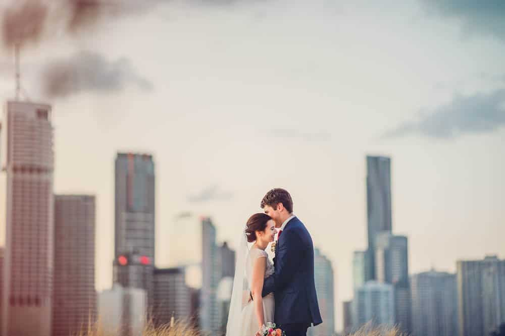 brisbane skyline in background of wedding