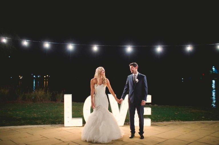 Brisbane wedding reception venue Northshore Harbour - love sign