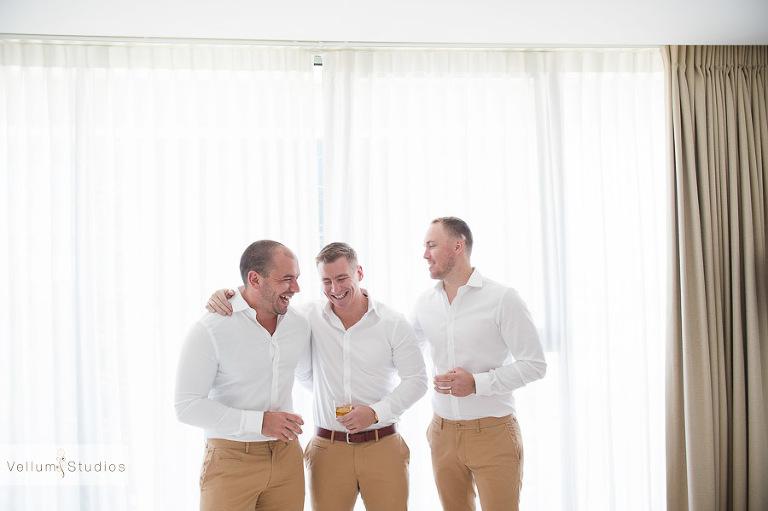 Mr & Mrs Riverbar wedding Brisbane -guys laughing
