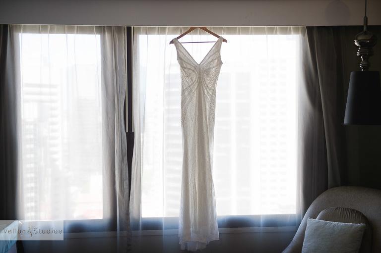 Mr & Mrs Riverbar wedding Brisbane -dress hanging