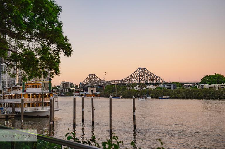 Mr & Mrs Riverbar wedding Brisbane - bridge view