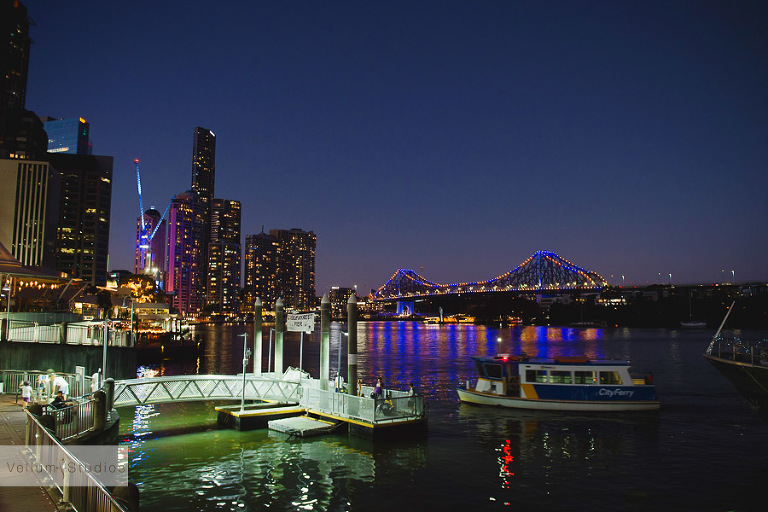 Mr & Mrs Riverbar wedding Brisbane - at night